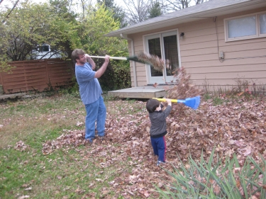 raking with Daddy